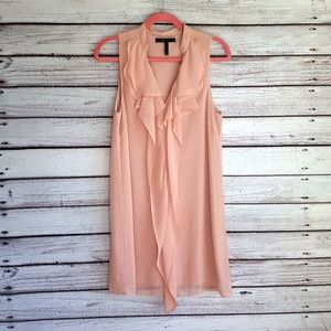 BCBGMaxAzria Pink Ruffle Sleeveless Dress S